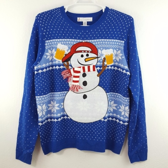 Jolly Sweaters Sweaters Ugly Christmas Sweater Snowman Drinking
